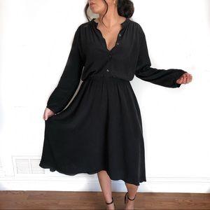 Anthropologie Silk Long Black Dress